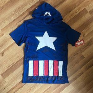 Marvel Captain America Costume Hooded T Shirt